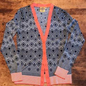 🍋TORY BURCH navy orange and white wool cardigan